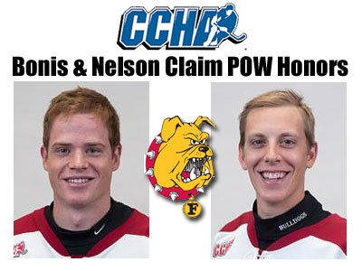 Bonis and Nelson Earn CCHA Honors