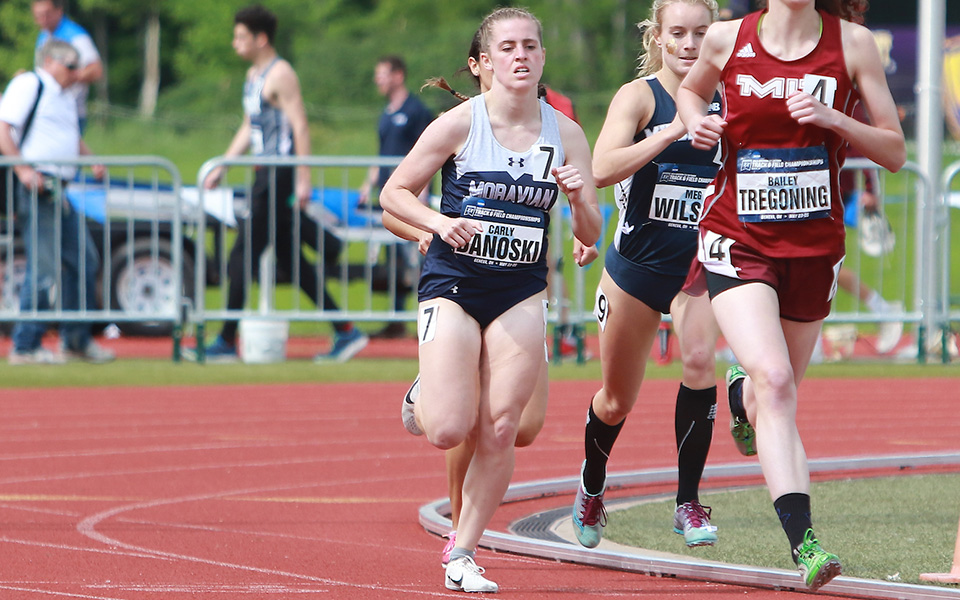 Carly Danoski comes off the third turn of the first lap in the 800-meter run at the 2019 NCAA Division III Outdoor National Championships in Ohio. Photo by d3photography.com.