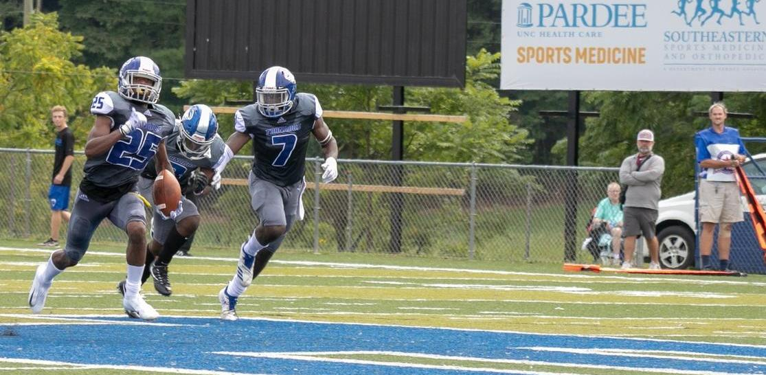 Junior cornerback Quentin Jackson heads towards the end zone. Jackson's 15-yard pick-6 kickstarted Brevard's scoring in its dominant 40-9 victory over Allen (Courtesy of Thom Kennedy '21)