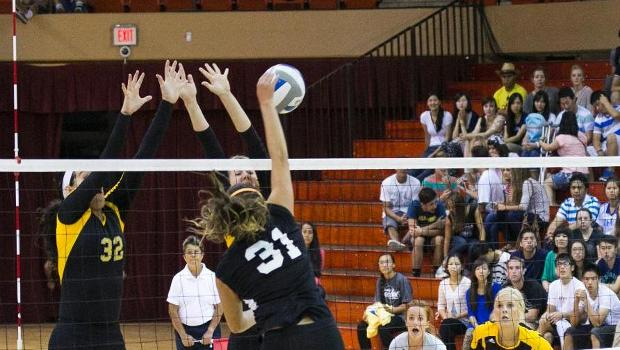 Volleyball downs Holy Names in three sets