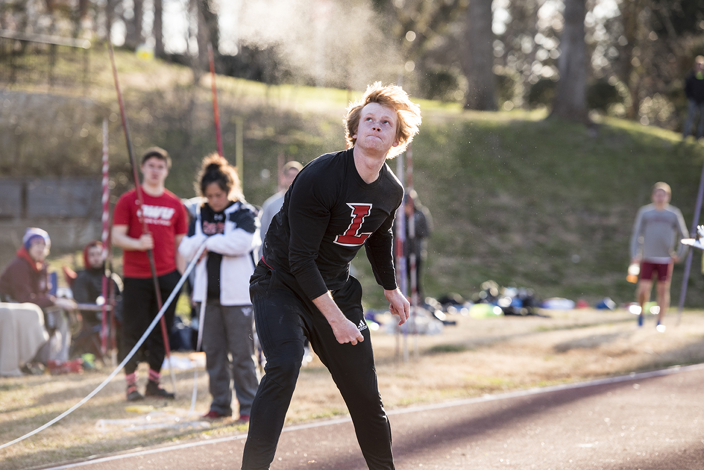 Dalton Hoppe watches a javelin fly.