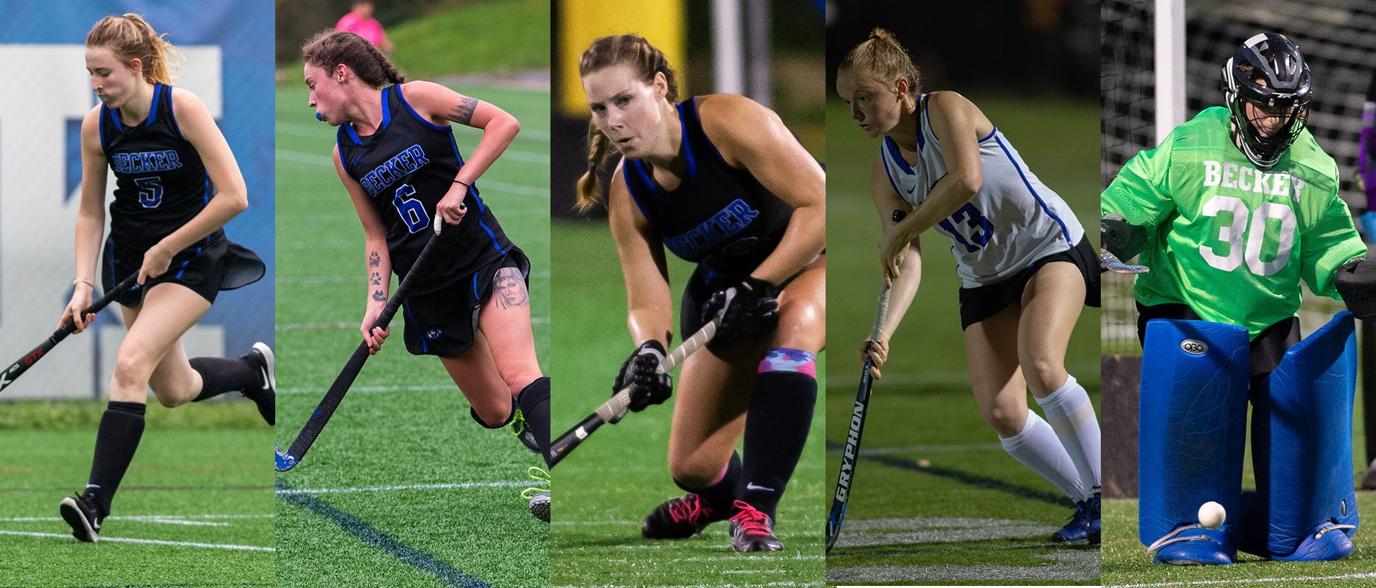 Hawks Field Hockey Preview (From L to R): Katherine Bernier, Amy Cooper, Samantha Carter, Lauren Niemann, and Victoria Pilpel