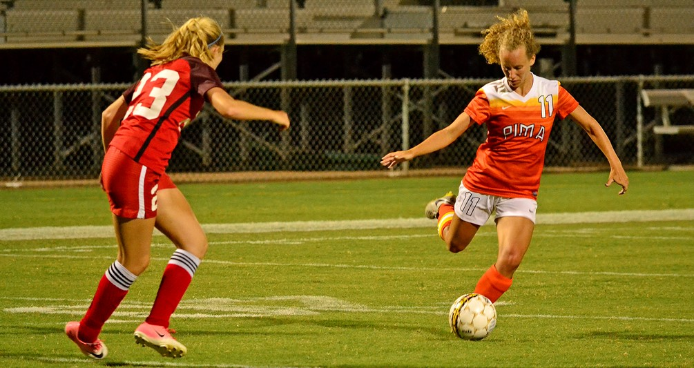 Sophomore Emily Blievn helped anchor a defensive stance that shut out Paradise Valley Community College on Saturday in Pima's 1-0 win. The Aztecs improved to 7-3-1 overall. Photo by Ben Carbajal.