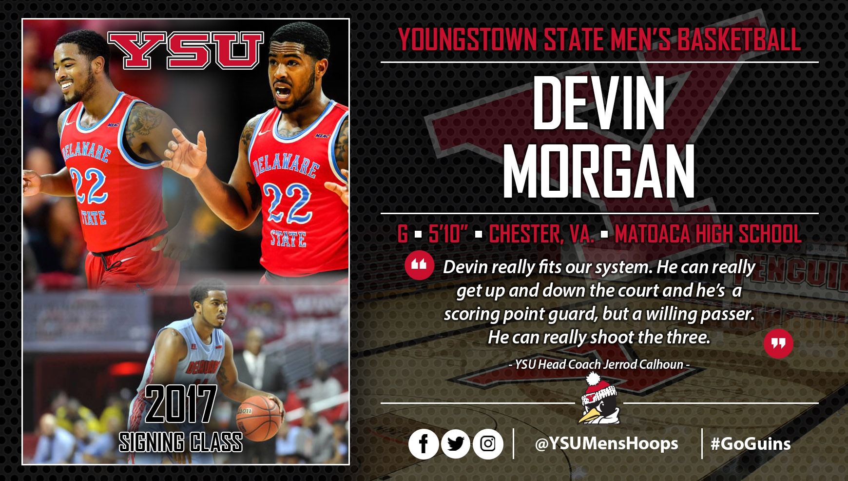 Youngstown State Men's Basketball Adds Transfer Devin Morgan