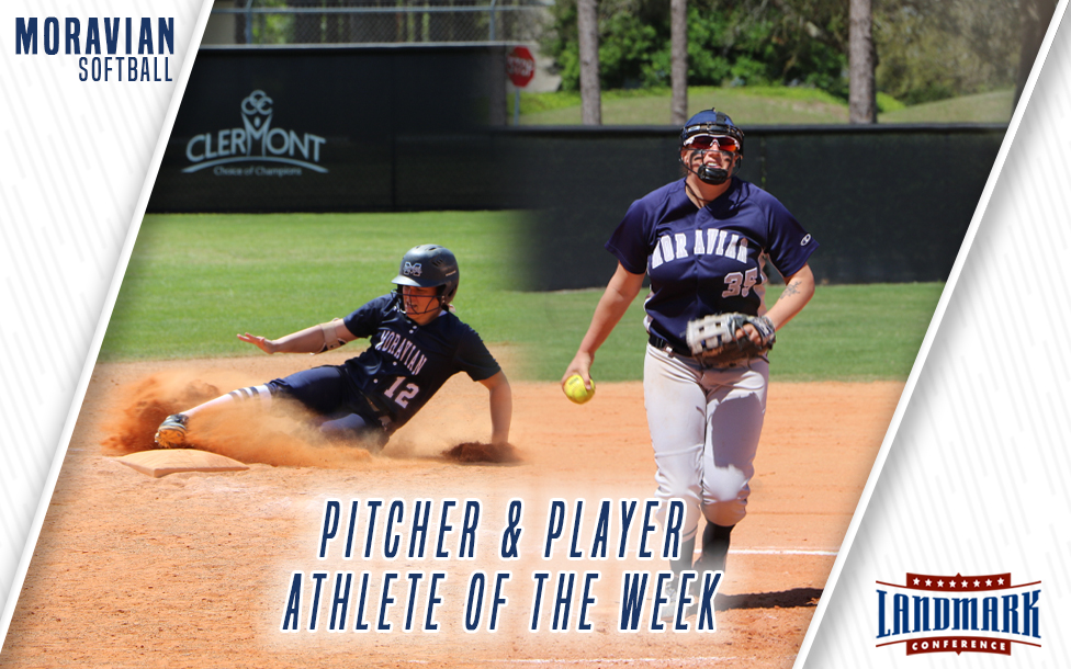 Freshman Alexandria Scheeler and junior Paige Lesher selected as Landmark Conference Softball Player and Pitcher of the Week.