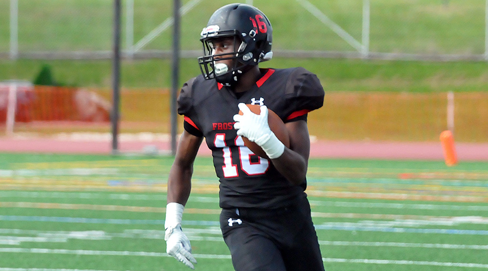 Lincoln Ikwunbo with the ball in the open field for Frostburg State. (Frostburg State athletics photo)