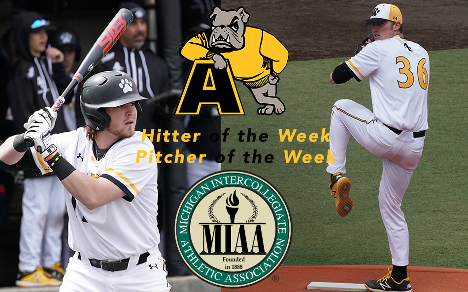 Brady Wood, left, and Tommy Parsons earn final MIAA weekly awards. Adrian Baseball has swept the conference awards three times this spring. (Action photos by Mike Dickie)