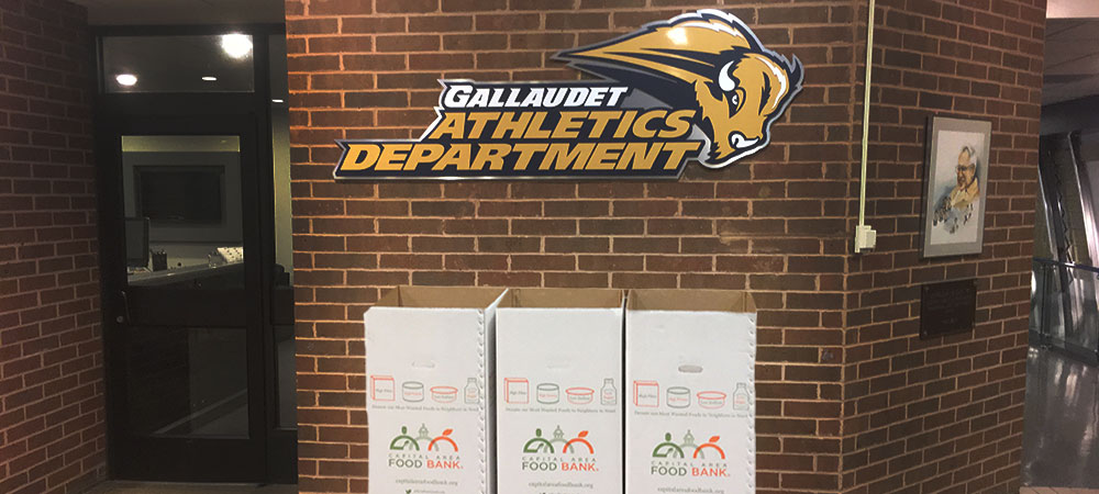 Three Food Bank Boxes stand in front of the Gallaudet Athletics Department logo in the lobby of the Field House. The boxes are pretty tall, about 3-4 feet tall and are made of white cardboard. There is a brickwall behind the boxes with the logo above the boxes.