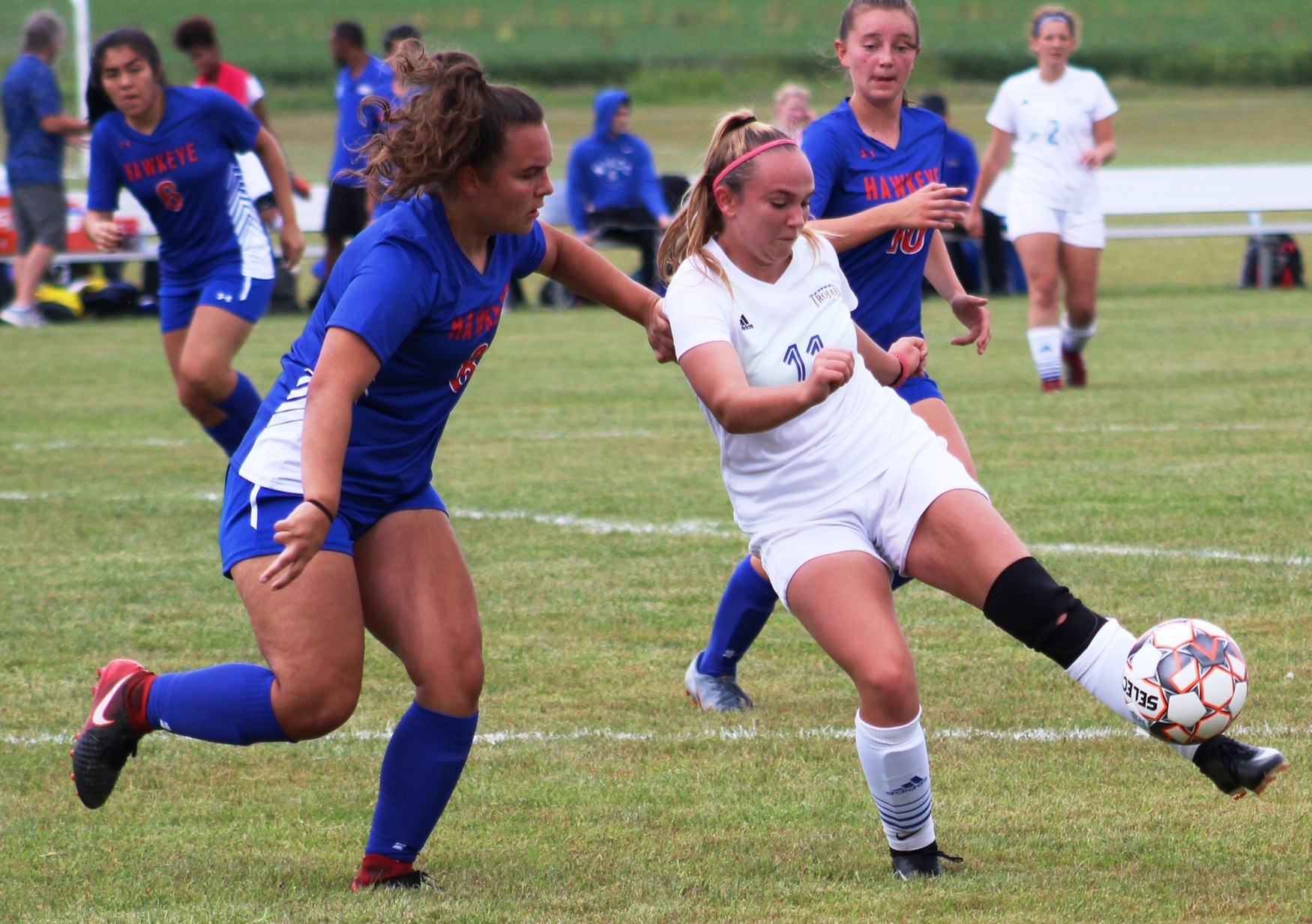 NIACC's Sophia Gebl kicks the ball in the first half of Saturday's contest against Hawkeye CC.