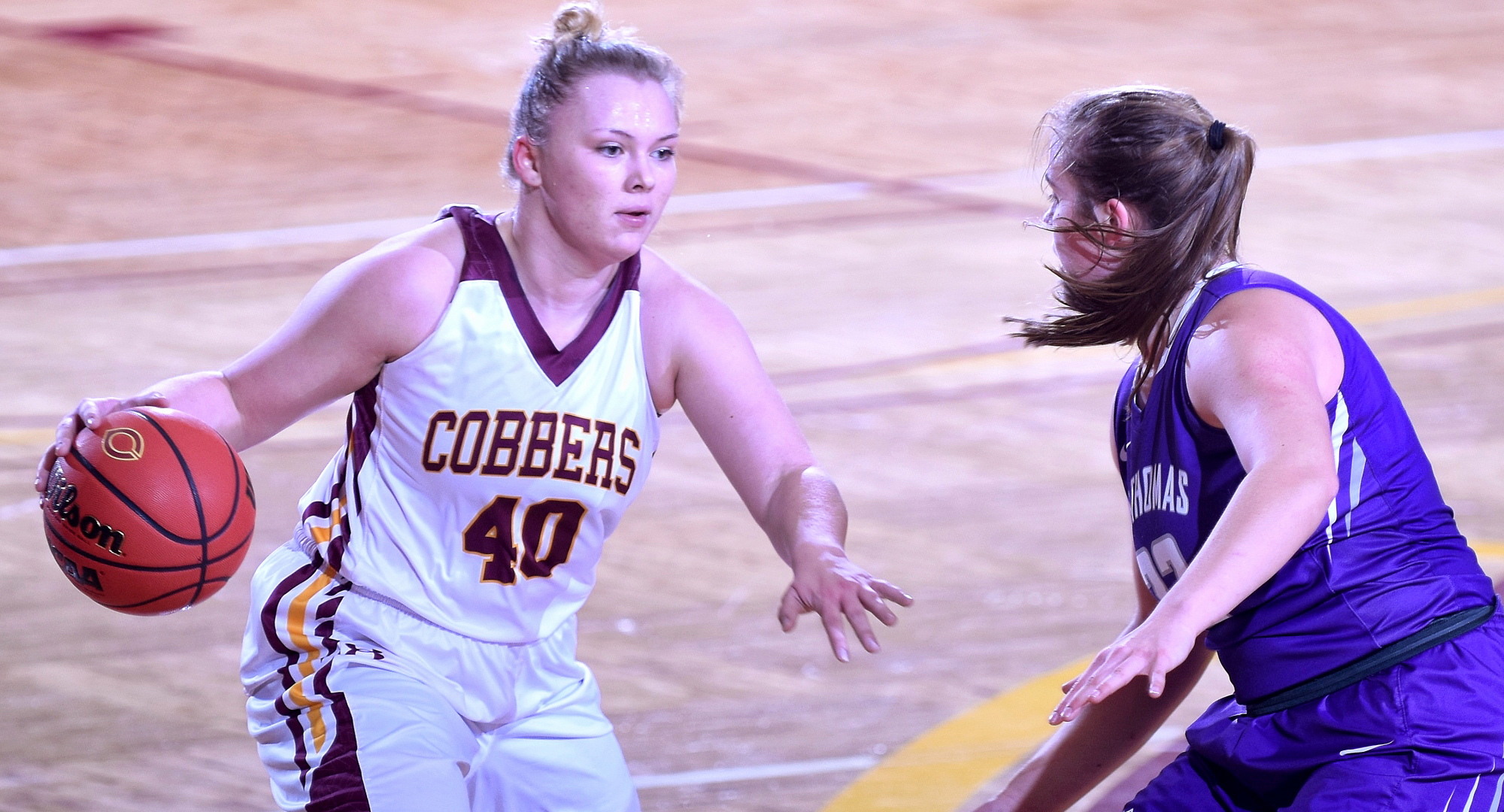 Junior Mira Ellefson finished with a team-high 16 points and made two of the Cobbers' 14 straight free throws at the end of the team's 81-72 win at St. Olaf.