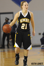 Senior guard Michele Brokans ranks seventh all-time at UMBC with 330 career assists.