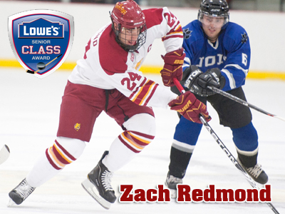 Senior Zach Redmond chosen as a 2010-11 Lowe's Senior CLASS Award Ice Hockey Candidate.  (Photo by Ed Hyde)