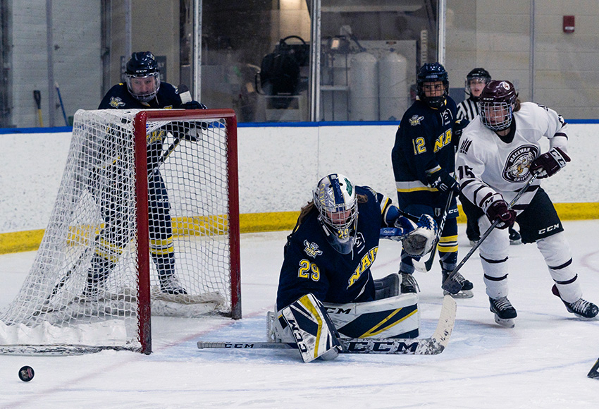 Kaitlyn Slator, seen making a save off Karlie Bell during a game earlier this season, was again the diffference as NAIT beat MacEwan 2-1 in a shootout on Saturday night (Matthew Jacula photo).