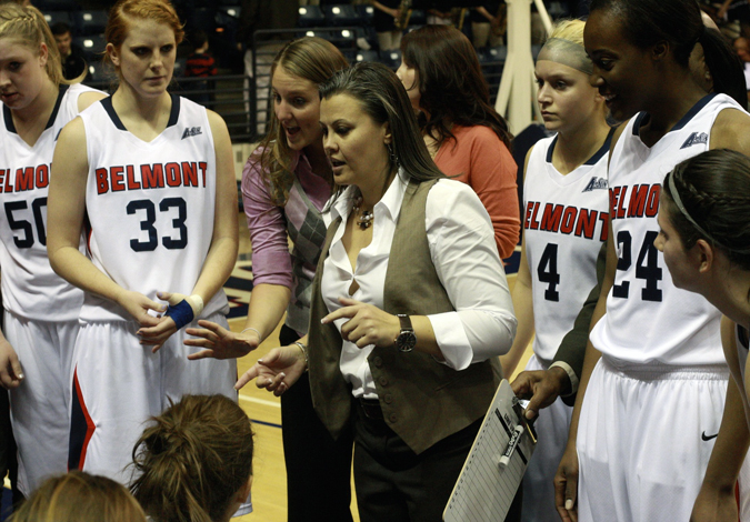 Coach Brittney Ezell and the Belmont women's basketball team