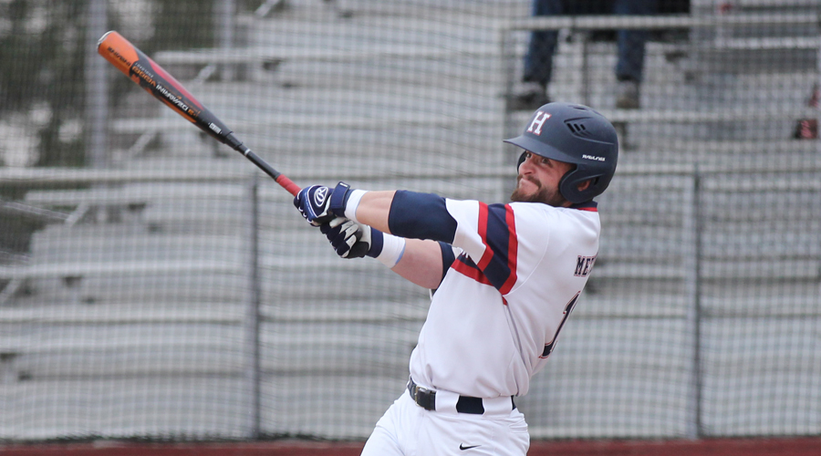 Sophomore Riley Metzger drives in three runs in Hutchinson's 7-2 win in Game 1 of a doubleheader with Coffeyville on Wednesday at Hobart-Detter Field (Bre Rogers/Blue Dragon Sports Information)