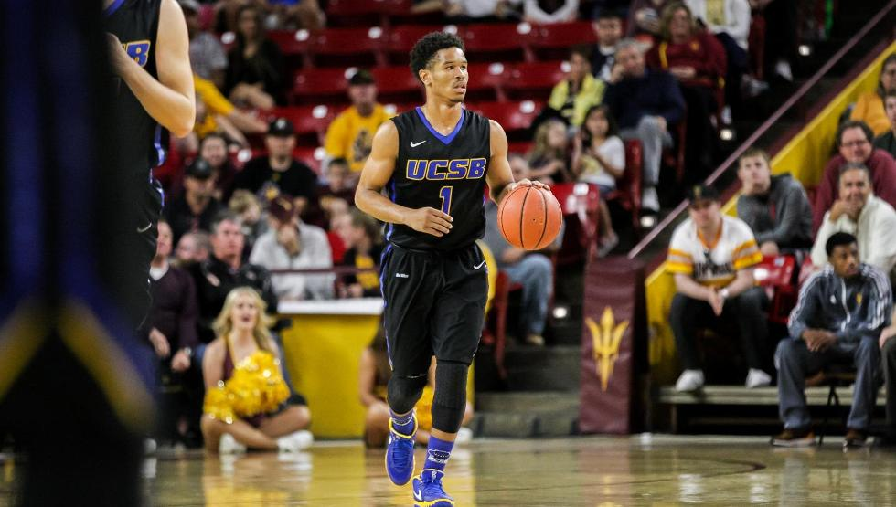 Eric Childress had his best game of the season as the Gauchos lost on a last-second shot at Arizona State, 70-68. (Photo by Charles Banke, ASU Athletics)