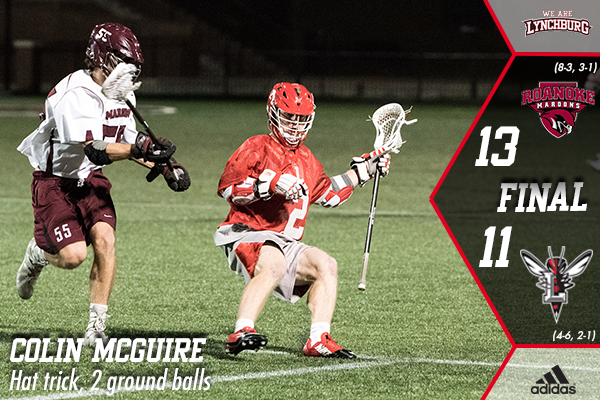 Colin McGuire tries to get past a defender. Text: Colin McGuire, hat trick, 2 ground balls