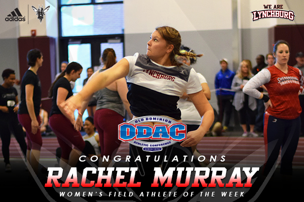 Rachel Murray throws a weight. Text: Congratulations Rachel Murray women's field athlete of the week