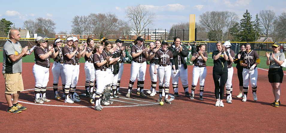 Softball team celebrates setting school record for wins in a season (Photo Courtesy of Jeff Boledovic)