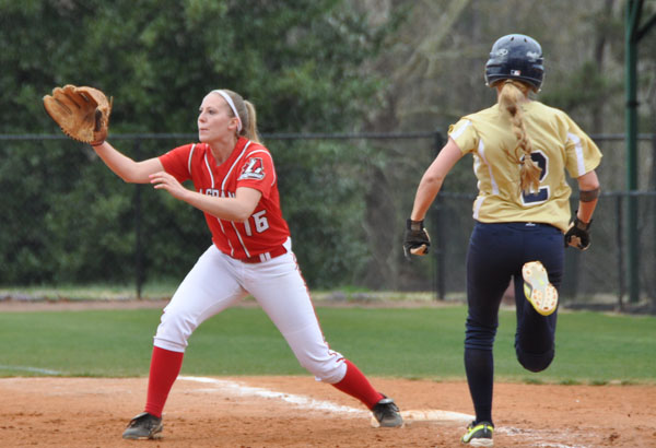 Sophomore first baseman Christy Flick waits on the throw in the first game of Sunday's doubleheader with N.C. Wesleyan. 