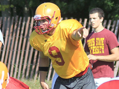 Junior QB Tom Schneider calls out the play during practice this past weekend (Photo by Zeke Jennings, Big Rapids Pioneer)