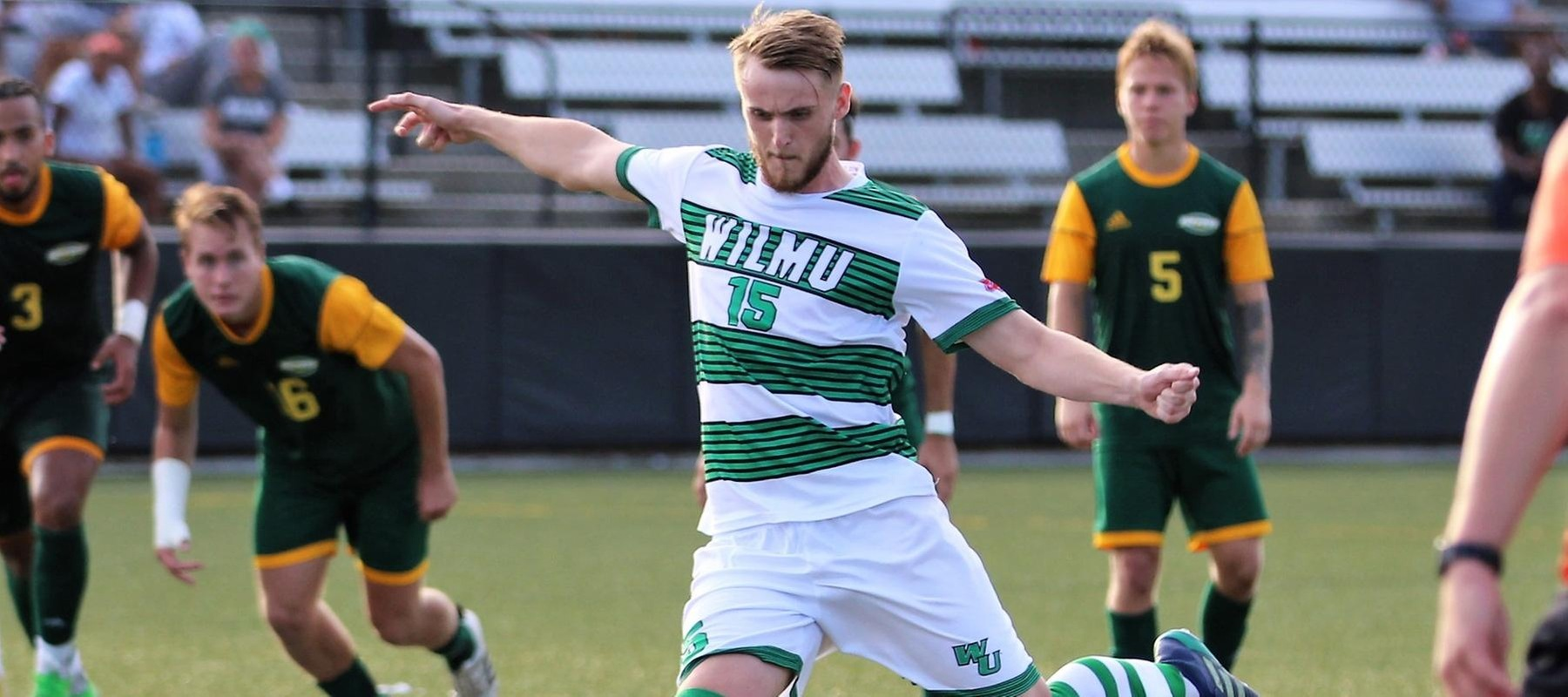 Copyright 2018; Wilmington University. All rights reserved. Photo of Will Stone taking the PK in the 85th minute. Photo by Keara McCarthy. October 10, 2018 vs. LIU Post.