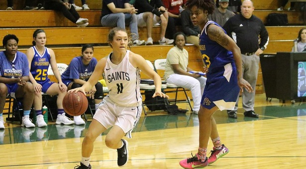 Bench Leads No. 8 Lady Saints to Win Over Frank Phillips