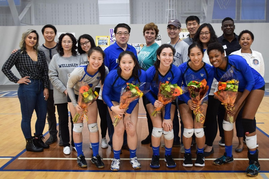 Wellesley celebrated Senior Day prior to Saturday's second match (Julia Monaco).