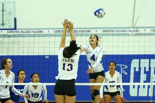 Nicole Spigner (4) had three kills and a team-high six service aces, as the Falcons swept LA Trade-Tech