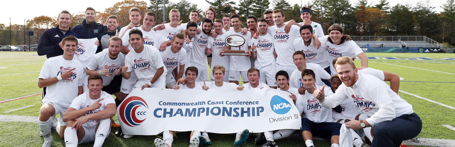 The 2017 Endicott men's soccer team celebrating their first CCC Championship