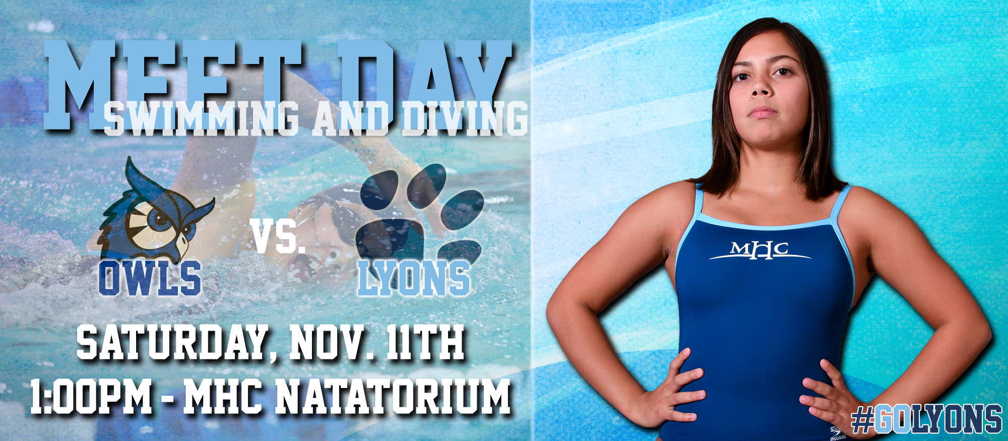 Gameday graphic promoting the Lyons swimming & diving home meet on Saturday, November 11th against Westfield State at 1pm.