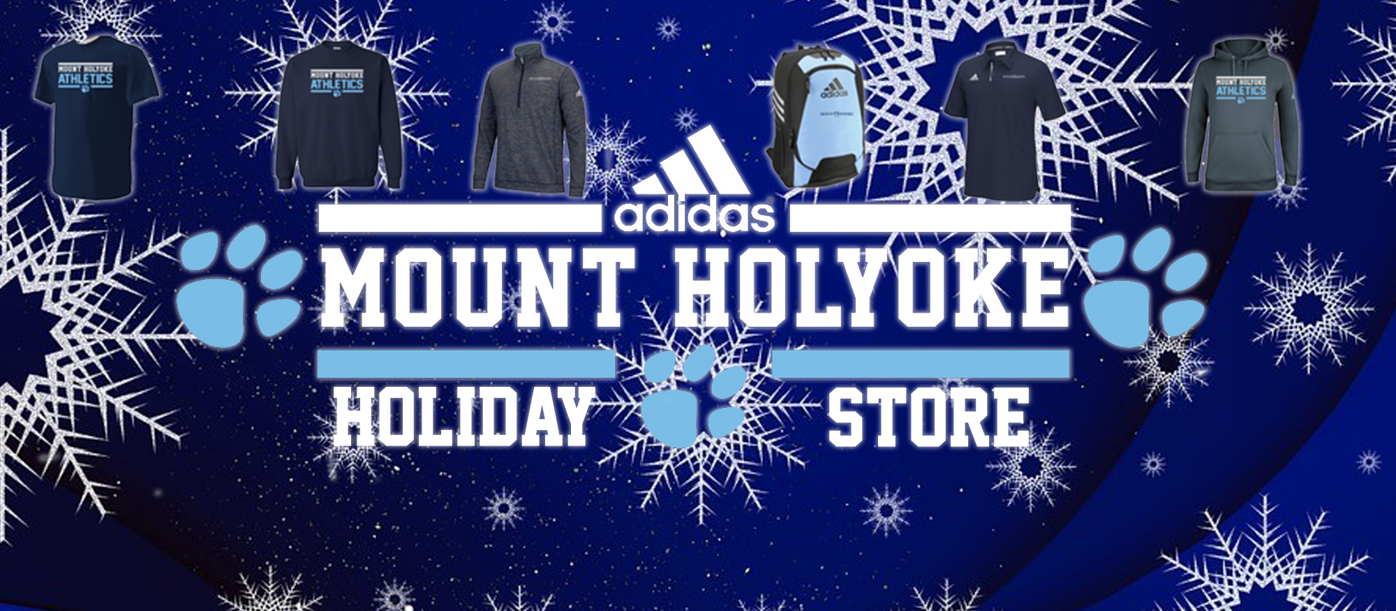 Graphic image for the 2017 Mount Holyoke Athletics Holiday Store, open November 1-13 via Champions Choice.