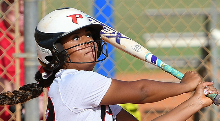 Anizya Vargas went 4-for-8 with a home run, a walk, four runs, and three RBI in two games against Hillsborough.(Photo by Tom Hagerty, Polk State.)