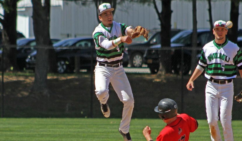 Copyright 2018; Wilmington University. All rights reserved. File photo of Christian Adorno who collected a double, triple, and home run in two game on Friday. Taken by Frank Stallworth during the 2016 season.