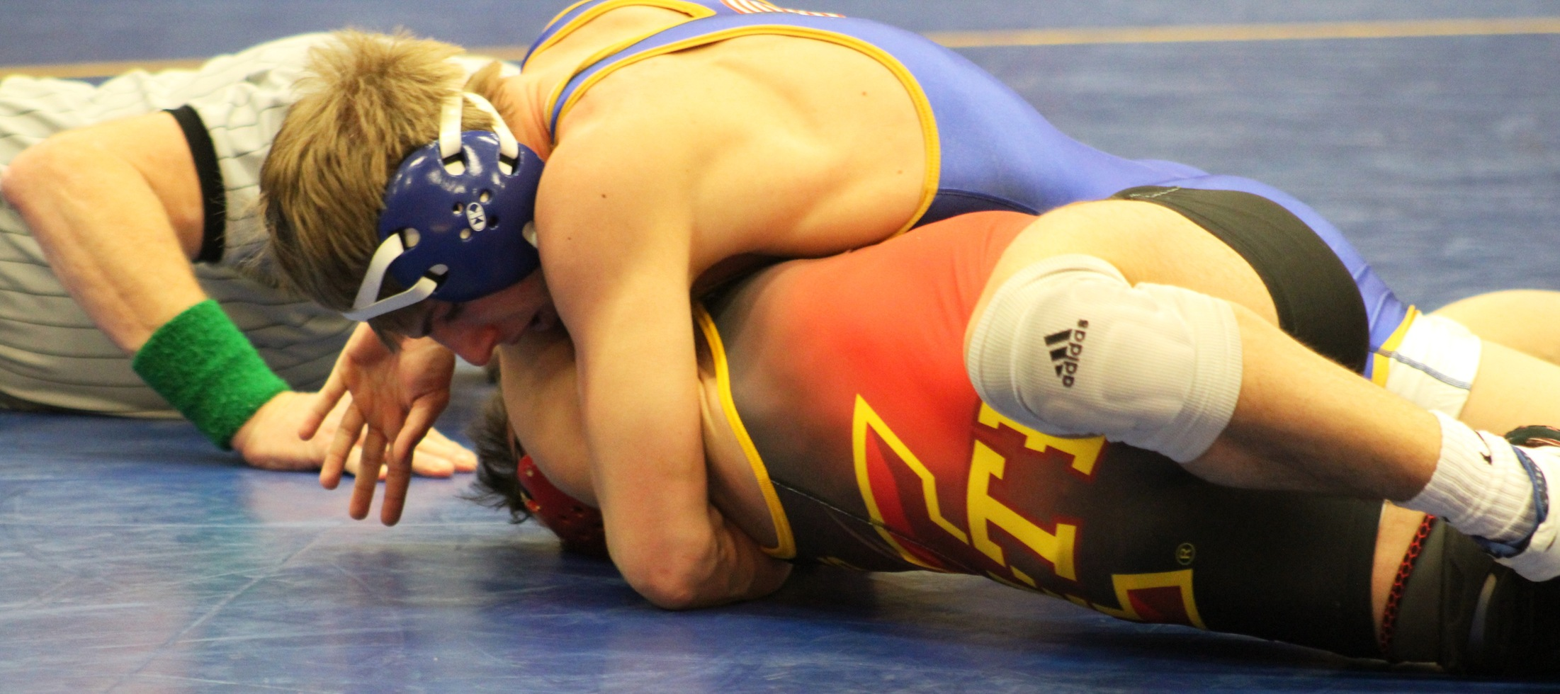 NIACC's Austin Anderly works for the fall during a recent dual meet against the Iowa State Club team.