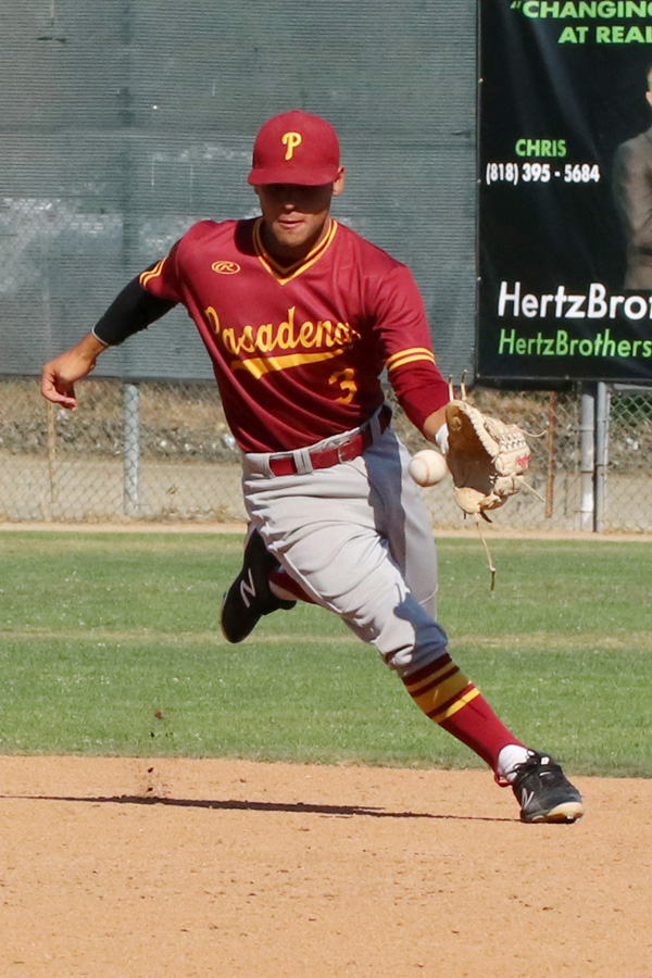 Jose Jimenez was a two-year starting infielder for the Lancers and he makes the play here during Friday's playoff win at Glendale, photo by Richard Quinton.