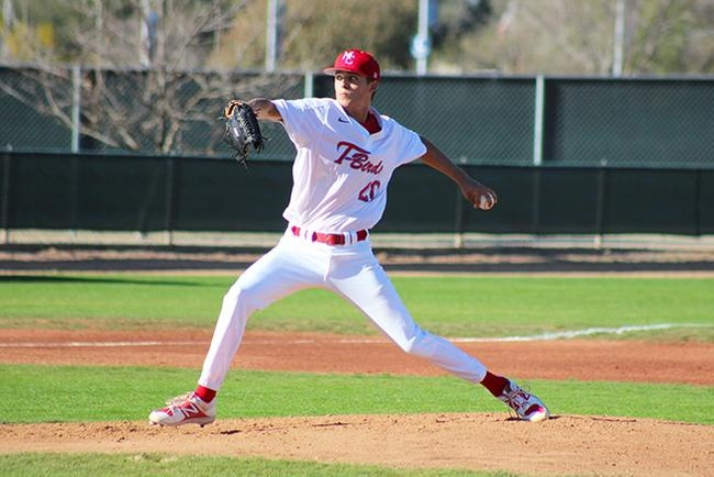 Holden Bernhardt struck out nine batters and didn't allow any hits through five innings against Arizona Christian Wednesday afternoon. (photo by Aaron Webster)