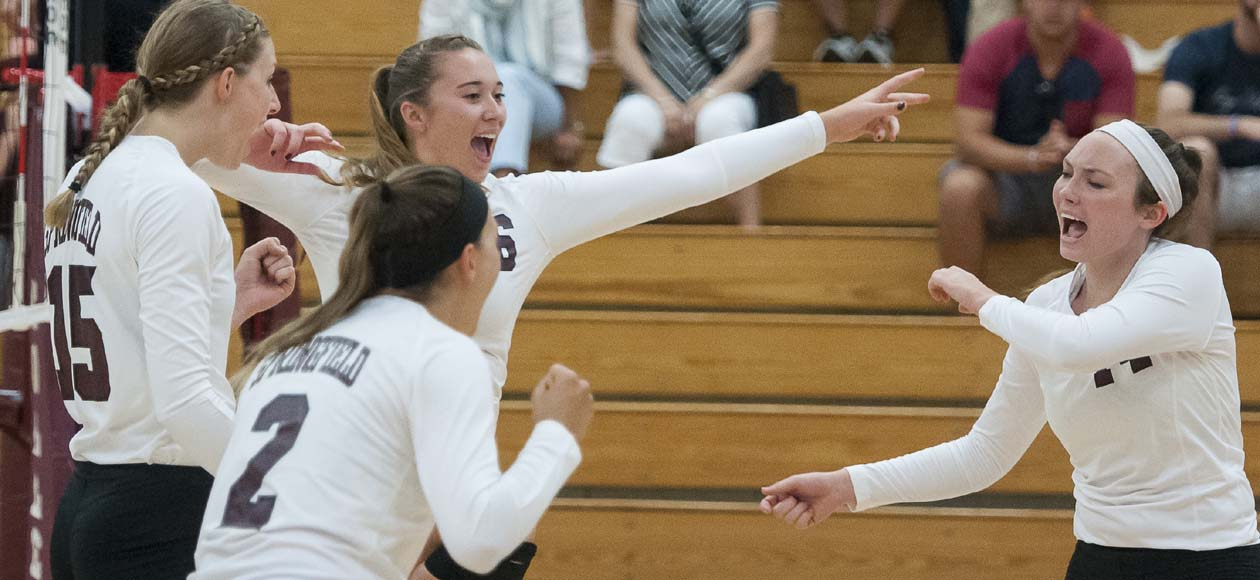 Women's Volleyball Tops Amherst In Regional Showdown