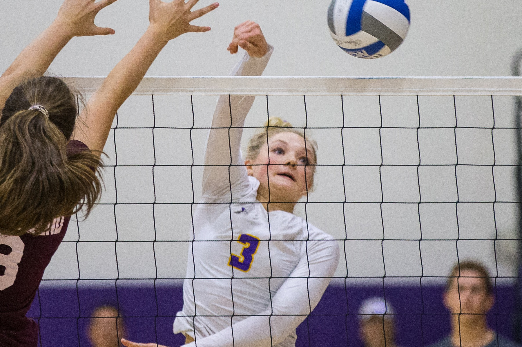 Maci Haddad swatted down a team-high eight kills as the Regals tested No. 11 Trinity (Texas).