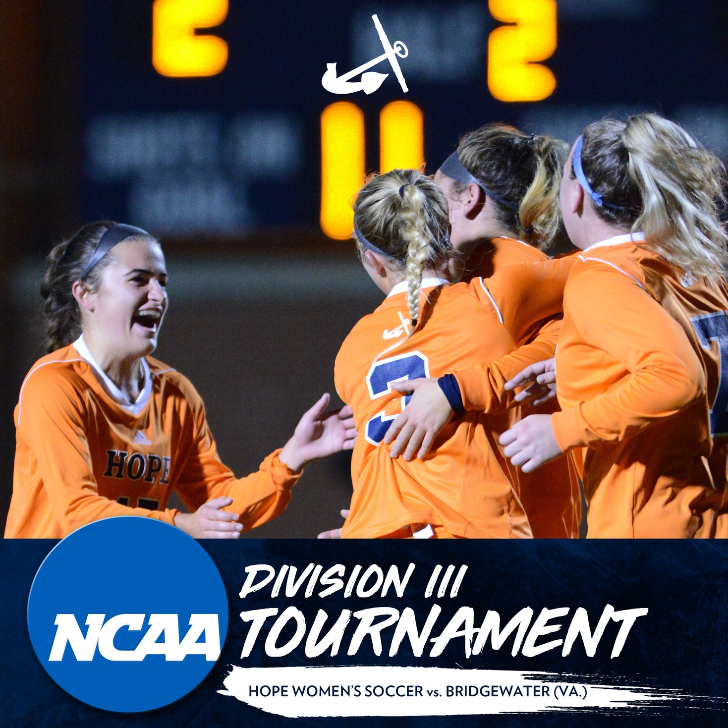 Hope women's soccer players celebrate after scoring a goal