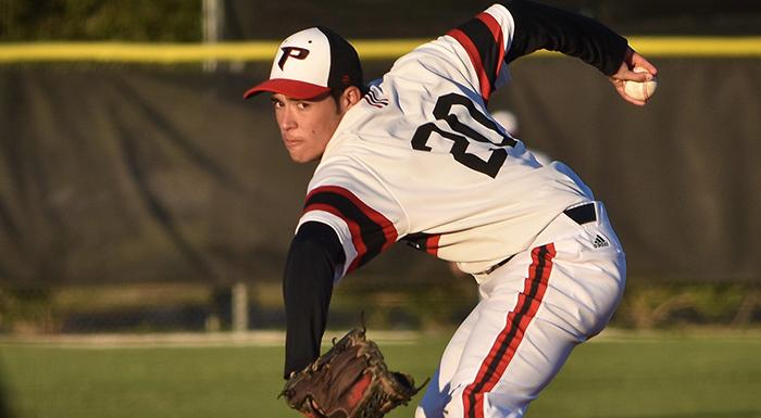 Zach Schneider earned the win in relief as the Eagles defeated the Lakehawks 5-2. (Photo by Tom Hagerty, Polk State.)