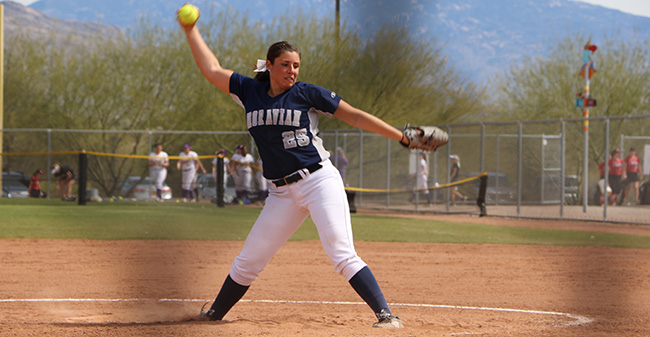Josie Novak '18 delivers a pitch during a game versus SUNY Oneonta at the Tucson (Ariz.) Invitational as Novak recorded her 500th career strikeout.