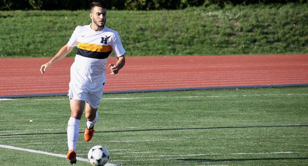 PROLIFIC OFFENCE LEADS No. 1 MEN'S SOCCER PAST CAMBRIAN, 4-0