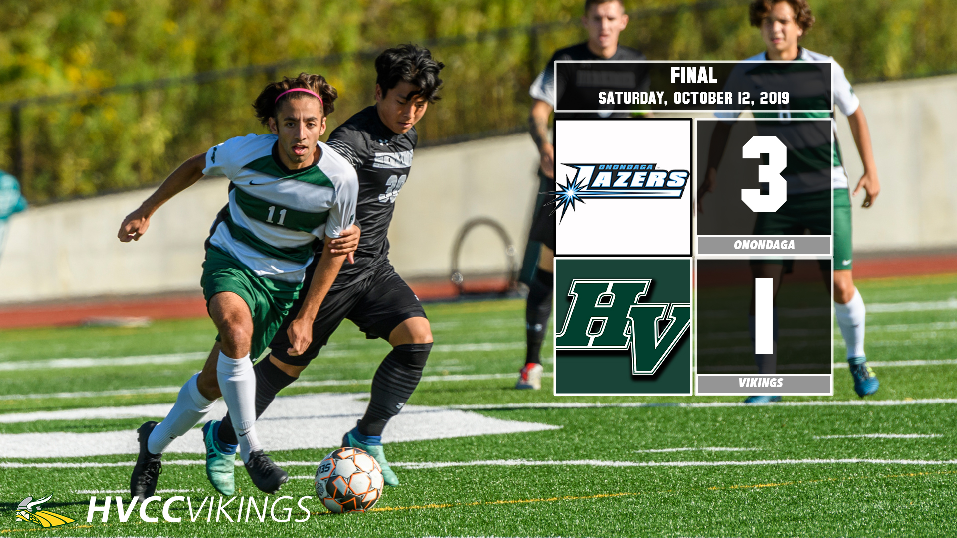 Men's soccer defeated by Onondaga 3-1 on Oct. 12, 2019