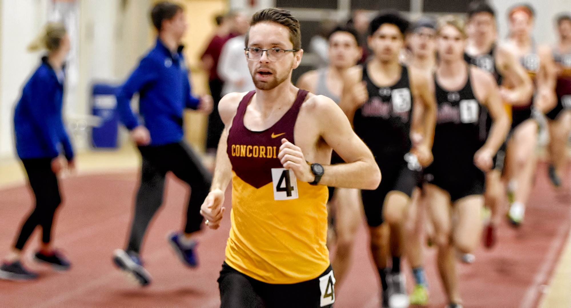Senior Eric Wicklund won the 5000 meters at the St. John's Invite and has now won an event in three of the four meets this season.