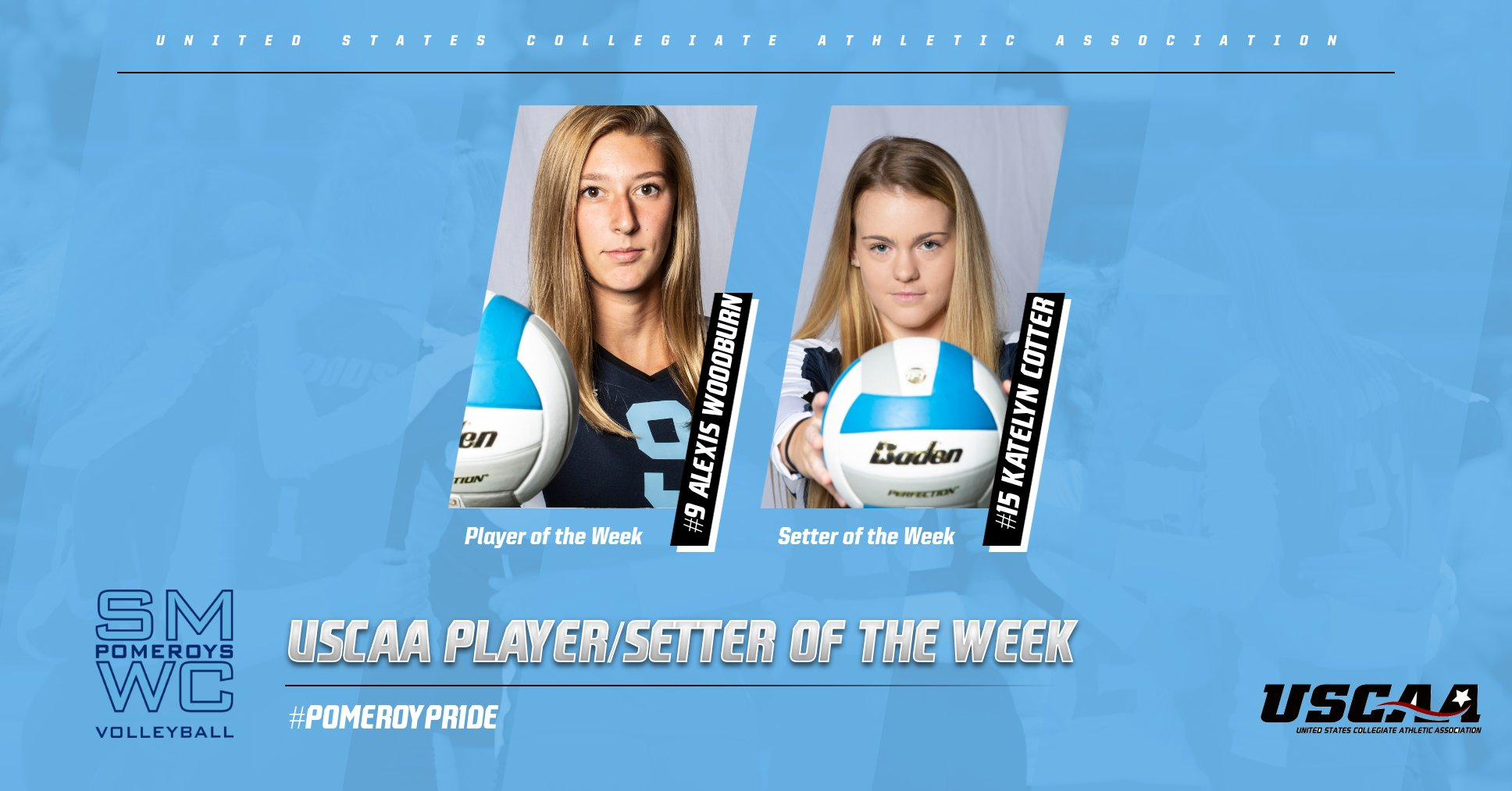 Cotter and Woodburn Earn USCAA Volleyball Division I Setter/Player of the Week