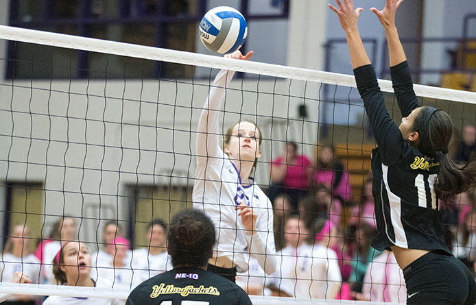 Women's volleyball opens three-match road swing with loss at Franklin Pierce