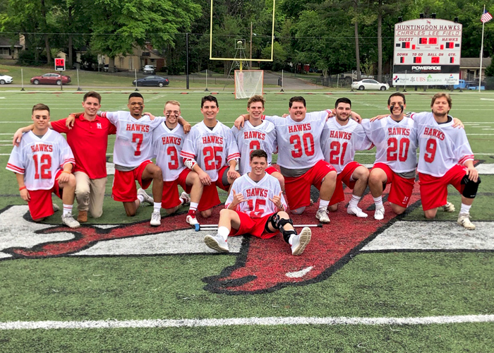 The Huntingdon men's lacrosse team recognized its seniors during Senior Day on Saturday. (Photo by Vic Jerald)