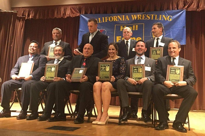 Donny Garriott (seated, second from right) was inducted into the California Wrestling Hall of Fame