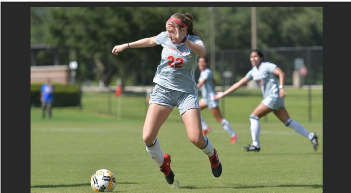 Laura Knott's goal broke a 1-1- tie, giving the Eagles a 2-1 win over Andrew College. (Photo by Tom Hagerty, Polk State.)